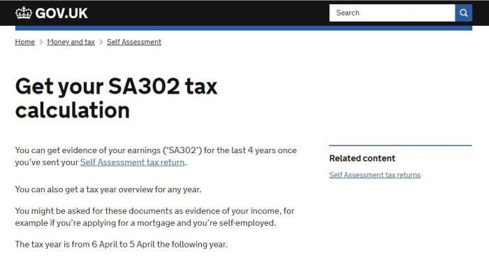 SA302 evidence of income
